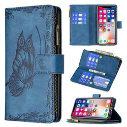 Binfen Color Imprint Vivid Butterfly Buckle Zipper Multi-function Leather Phone Wallet for iPhone XS / iPhone X(5.8 inch) - Blue