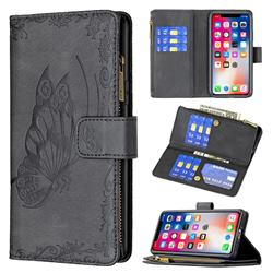 Binfen Color Imprint Vivid Butterfly Buckle Zipper Multi-function Leather Phone Wallet for iPhone XS / iPhone X(5.8 inch) - Black
