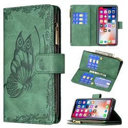 Binfen Color Imprint Vivid Butterfly Buckle Zipper Multi-function Leather Phone Wallet for iPhone XS / iPhone X(5.8 inch) - Green