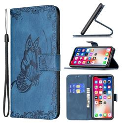 Binfen Color Imprint Vivid Butterfly Leather Wallet Case for iPhone XS / iPhone X(5.8 inch) - Blue