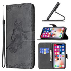 Binfen Color Imprint Vivid Butterfly Leather Wallet Case for iPhone XS / iPhone X(5.8 inch) - Black