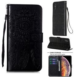 Embossing Dream Catcher Mandala Flower Leather Wallet Case for iPhone XS / iPhone X(5.8 inch) - Black