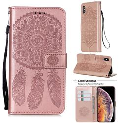 Embossing Dream Catcher Mandala Flower Leather Wallet Case for iPhone XS / iPhone X(5.8 inch) - Rose Gold