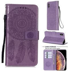 Embossing Dream Catcher Mandala Flower Leather Wallet Case for iPhone XS / iPhone X(5.8 inch) - Purple
