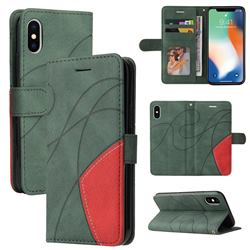 Luxury Two-color Stitching Leather Wallet Case Cover for iPhone XS / iPhone X(5.8 inch) - Green