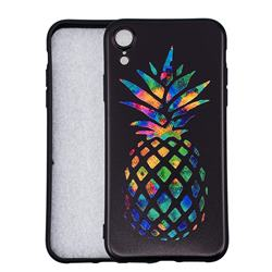 Colorful Pineapple 3D Embossed Relief Black Soft Back Cover for iPhone Xr (6.1 inch)