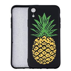 Big Pineapple 3D Embossed Relief Black Soft Back Cover for iPhone Xr (6.1 inch)
