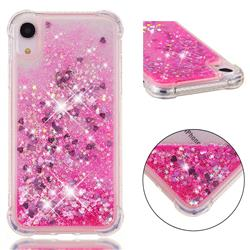 Dynamic Liquid Glitter Sand Quicksand TPU Case for iPhone Xr (6.1 inch) - Pink Love Heart