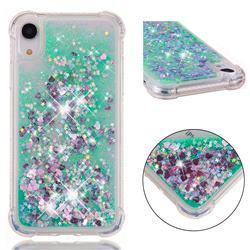 Dynamic Liquid Glitter Sand Quicksand TPU Case for iPhone Xr (6.1 inch) - Green Love Heart