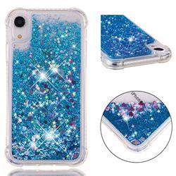 Dynamic Liquid Glitter Sand Quicksand TPU Case for iPhone Xr (6.1 inch) - Blue Love Heart