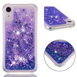 Dynamic Liquid Glitter Sand Quicksand Star TPU Case for iPhone Xr (6.1 inch) - Purple