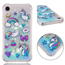 Fashion Unicorn Dynamic Liquid Glitter Sand Quicksand Star TPU Case for iPhone Xr (6.1 inch)