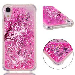 Pink Cherry Blossom Dynamic Liquid Glitter Sand Quicksand Star TPU Case for iPhone Xr (6.1 inch)