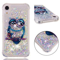 Sweet Gray Owl Dynamic Liquid Glitter Sand Quicksand Star TPU Case for iPhone Xr (6.1 inch)