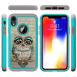Sweet Gray Owl Studded Rhinestone Bling Diamond Shock Absorbing Hybrid Defender Rugged Phone Case Cover for iPhone Xr (6.1 inch)