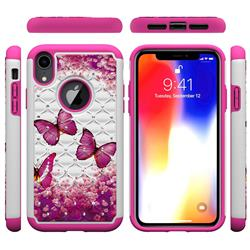 Rose Butterfly Studded Rhinestone Bling Diamond Shock Absorbing Hybrid Defender Rugged Phone Case Cover for iPhone Xr (6.1 inch)
