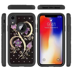 Peacock Flower Studded Rhinestone Bling Diamond Shock Absorbing Hybrid Defender Rugged Phone Case Cover for iPhone Xr (6.1 inch)