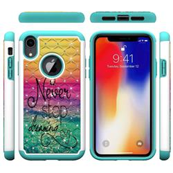 Colorful Dream Catcher Studded Rhinestone Bling Diamond Shock Absorbing Hybrid Defender Rugged Phone Case Cover for iPhone Xr (6.1 inch)