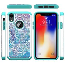 Mandala Studded Rhinestone Bling Diamond Shock Absorbing Hybrid Defender Rugged Phone Case Cover for iPhone Xr (6.1 inch)