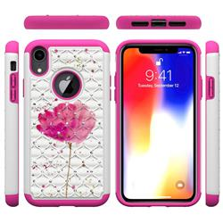 Watercolor Studded Rhinestone Bling Diamond Shock Absorbing Hybrid Defender Rugged Phone Case Cover for iPhone Xr (6.1 inch)
