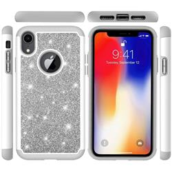 Glitter Rhinestone Bling Shock Absorbing Hybrid Defender Rugged Phone Case Cover for iPhone Xr (6.1 inch) - Gray