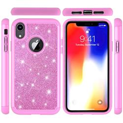 Glitter Rhinestone Bling Shock Absorbing Hybrid Defender Rugged Phone Case Cover for iPhone Xr (6.1 inch) - Pink