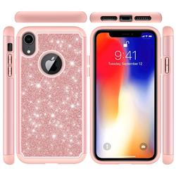 Glitter Rhinestone Bling Shock Absorbing Hybrid Defender Rugged Phone Case Cover for iPhone Xr (6.1 inch) - Rose Gold
