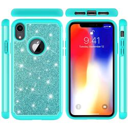 Glitter Rhinestone Bling Shock Absorbing Hybrid Defender Rugged Phone Case Cover for iPhone Xr (6.1 inch) - Green