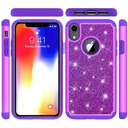 Glitter Rhinestone Bling Shock Absorbing Hybrid Defender Rugged Phone Case Cover for iPhone Xr (6.1 inch) - Purple