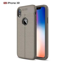 Luxury Auto Focus Litchi Texture Silicone TPU Back Cover for iPhone Xr (6.1 inch) - Gray