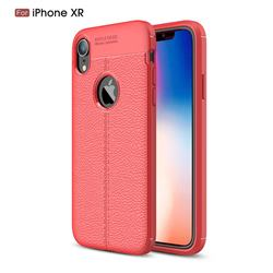 Luxury Auto Focus Litchi Texture Silicone TPU Back Cover for iPhone Xr (6.1 inch) - Red