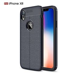 Luxury Auto Focus Litchi Texture Silicone TPU Back Cover for iPhone Xr (6.1 inch) - Dark Blue