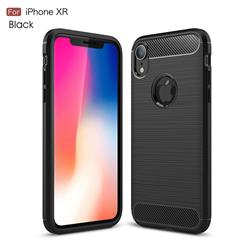 Luxury Carbon Fiber Brushed Wire Drawing Silicone TPU Back Cover for iPhone Xr (6.1 inch) - Black