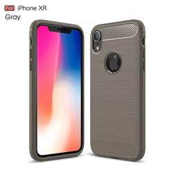 Luxury Carbon Fiber Brushed Wire Drawing Silicone TPU Back Cover for iPhone Xr (6.1 inch) - Gray