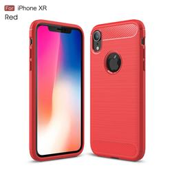 Luxury Carbon Fiber Brushed Wire Drawing Silicone TPU Back Cover for iPhone Xr (6.1 inch) - Red