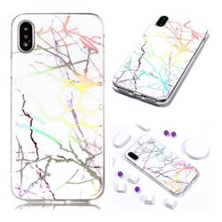 Color White Marble Pattern Bright Color Laser Soft TPU Case for iPhone Xr (6.1 inch)