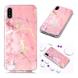 Powder Pink Marble Pattern Bright Color Laser Soft TPU Case for iPhone Xr (6.1 inch)