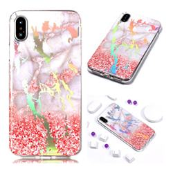 Powder Sandstone Marble Pattern Bright Color Laser Soft TPU Case for iPhone Xr (6.1 inch)
