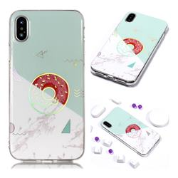 Donuts Marble Pattern Bright Color Laser Soft TPU Case for iPhone Xr (6.1 inch)