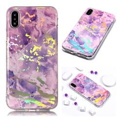 Purple Marble Pattern Bright Color Laser Soft TPU Case for iPhone Xr (6.1 inch)