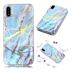Light Blue Marble Pattern Bright Color Laser Soft TPU Case for iPhone Xr (6.1 inch)