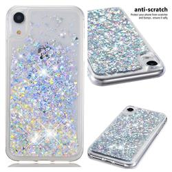 Dynamic Liquid Glitter Quicksand Sequins TPU Phone Case for iPhone Xr (6.1 inch) - Silver