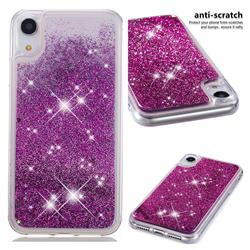 Dynamic Liquid Glitter Quicksand Sequins TPU Phone Case for iPhone Xr (6.1 inch) - Purple
