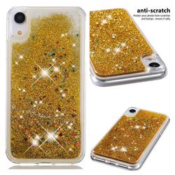Dynamic Liquid Glitter Quicksand Sequins TPU Phone Case for iPhone Xr (6.1 inch) - Golden