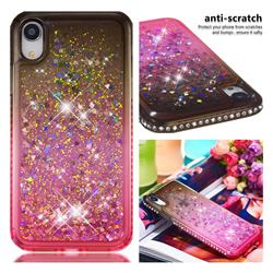Diamond Frame Liquid Glitter Quicksand Sequins Phone Case for iPhone Xr (6.1 inch) - Gray Pink