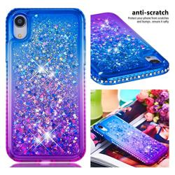 Diamond Frame Liquid Glitter Quicksand Sequins Phone Case for iPhone Xr (6.1 inch) - Blue Purple
