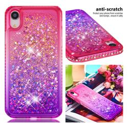 Diamond Frame Liquid Glitter Quicksand Sequins Phone Case for iPhone Xr (6.1 inch) - Pink Purple