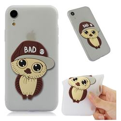 Bad Boy Owl Soft 3D Silicone Case for iPhone Xr (6.1 inch) - Translucent White
