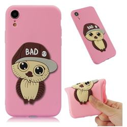 Bad Boy Owl Soft 3D Silicone Case for iPhone Xr (6.1 inch) - Pink
