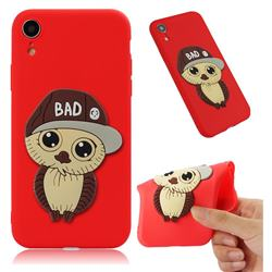 Bad Boy Owl Soft 3D Silicone Case for iPhone Xr (6.1 inch) - Red